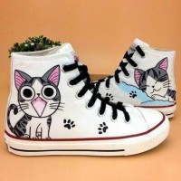 sepatu lukis converse gambar kucing