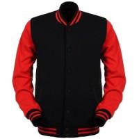 Jaket / Sweater Baseball Varsity Basic Polos - Hitam - Merah