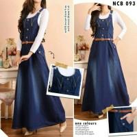Overall zipper jeans rok muslim dress panjang kodok resleting