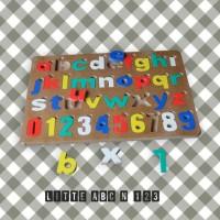 Jual Mainan Edukatif / Edukasi Anak - Puzzle Balok Kayu - Huruf angka Kecil Murah