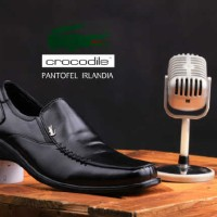 Sepatu Crocodile Irlandia Pantofel Leather Black Formal Pria