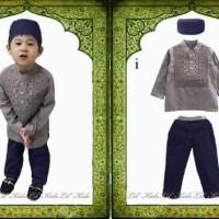 Baju Muslim anak cowok lengan panjang / Baju Koko Abu Setelan