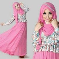 BT684 Baju setelan Pink Turkish Gamis Liena Hijab 3in1 L