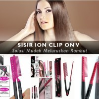 Jual SISIR ION CLIP ON DESIGN STRAIGHT HAIR DOUBLE V Model Sumpit... Murah