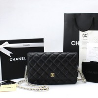 Clutch Chanel WOC Quilted Caviar Hitam GHW SCA31508