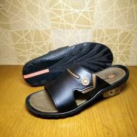 harga sandal kulit pria Rockford berkualitas / hitam cowok Tokopedia.com