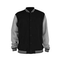 Jual Jaket / sweater Baseball Varsity Basic Polos Hitam - Abu Misty Murah