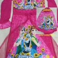Baju gamis anak + jilbab DMJ