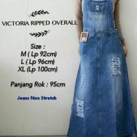 Jual Long dress jeans victoria ripped overall, sobekan tidak tembus! Murah