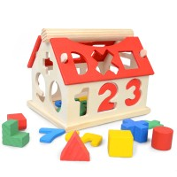 Mainan Kayu Mencocokkan Bentuk Balok Shape Fitting Model Rumah ME-006