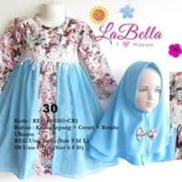 Baju Muslim/Gamis Anak Labella (Usia 7 - 11th) SB102-CR1 Biru No.30