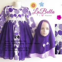 Baju Muslim/Gamis Anak Labella (Usia 2 - 6th) REG102-CR1 Ungu No.28