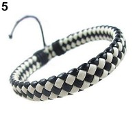 Gelang Fashion Wrap Braided Faux Leather Import