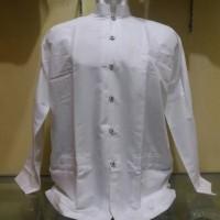 Jual Baju koko putih polos, lengan panjang ukuran S,M,L & XL. Murah
