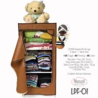Jual Lemari Pakaian Munzell LPF-01 COKLAT | Lemari Baju/Lemari Anak 3 Susun Murah