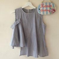 [ Atasan / Baju / Blouse / Tanktop Wanita] - Bebe Peplum Top - Gray