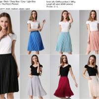 harga Rok pleated prisket/ plisket abu abu,beige,hitam,biru,pink,merah Tokopedia.com