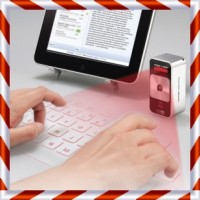 Super Keren Bosku Bluetooth Virtual Keyboard -Warna Silver