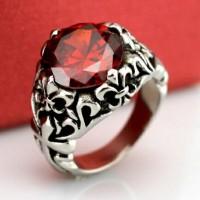 Cincin Pria / Wanita Red Fleur de Leis Titanium 316L Stainless Steel