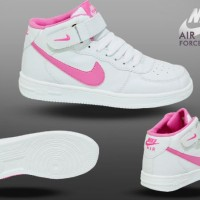 Sepatu Nike Air Force One White Pink Womens Life Style Sporty Jogging