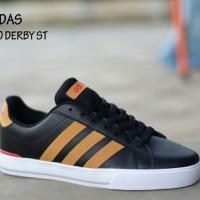 Sepatu Adidas Neo Coderby Black Lis Tan Pria Hangout Kerja Kuliah#1