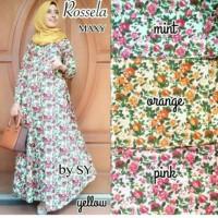 rosela maxi dress, long dress bunga, flower long dress
