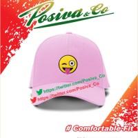 Topi Wkwkwk bahan Raphel Pink