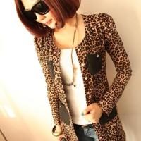 harga CY50302 - Leopard Brown Import Korean Fashion Chiffon Blazer Cardigan Tokopedia.com