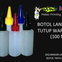 Botol Tinta Lancip Hdpe 100ml Tutup Warna