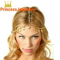 Hijab Accecories Metal Gold Plated Head Chain Hair Jewellery Pearl