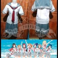 LL SUNSHINE AQUORUS/ seifuku jepang/ seragam sailor/ love live