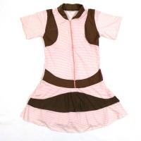 Baju Renang Rok Dewasa Motif Strip Garis Pink Coklat Lucu