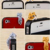 Pluggy Kucing Abu Kuning Belang Manjat / Dust Plug Cute Cat 3.5mm