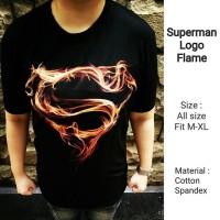 Superman Logo Fire Flame Baju Pakaian Kaos Pria Cowok Cowo Keren