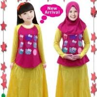 set hijab Anak Little pineapple - Rok hellokitty  (6-11th)