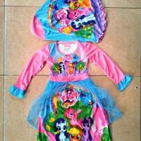 Baju Muslim Anak Gamis Cantik Little Pony Beauty Pink Tile Small