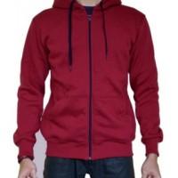 Jaket Sweeter Hoodie Zipper Merah Maroon