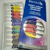 REEVES Watercolor Paint Set 12 Pcs / Cat Watercolour Merk Revees