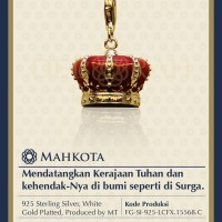 Liontin Perak Berlapis Emas Putih Mahkota Bintang Daud Anggur