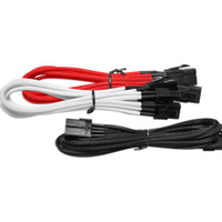 NZXT 6 Pin to 6+2 Pin VGA Extension - 25cm - Black / Red / White