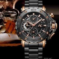 Jam Tangan Alexandre Christie AC 9205 Black Rosegold Original