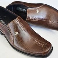 Sepatu Pantofel Kerja Kantor Pria Crocodile Kulit Asli Coklat A8