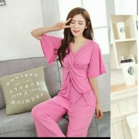 Baju Tidur Pink V Neck / Sleepware Pink Vneck Murah