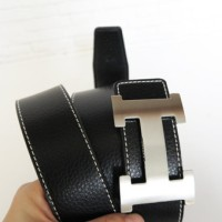 SABUK BELT GESPER HERMES LEATHER HITAM (SILVER)