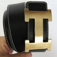 SABUK BELT GESPER HERMES LEATHER HITAM (GOLD)