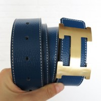 SABUK BELT GESPER HERMES LEATHER BIRU TUA (GOLD)