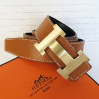 SABUK BELT GESPER HERMES LEATHER COKLAT MUDA (GOLD)