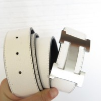 SABUK BELT GESPER HERMES LEATHER PUTIH (SILVER)