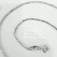 Kalung Biji Lada Polos Wanita KL045 Silver Perak 925 Lapis Emas Putih