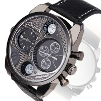 Jam Tangan Oulm Quartz Men Leather Fashion Watch - 9316 Black